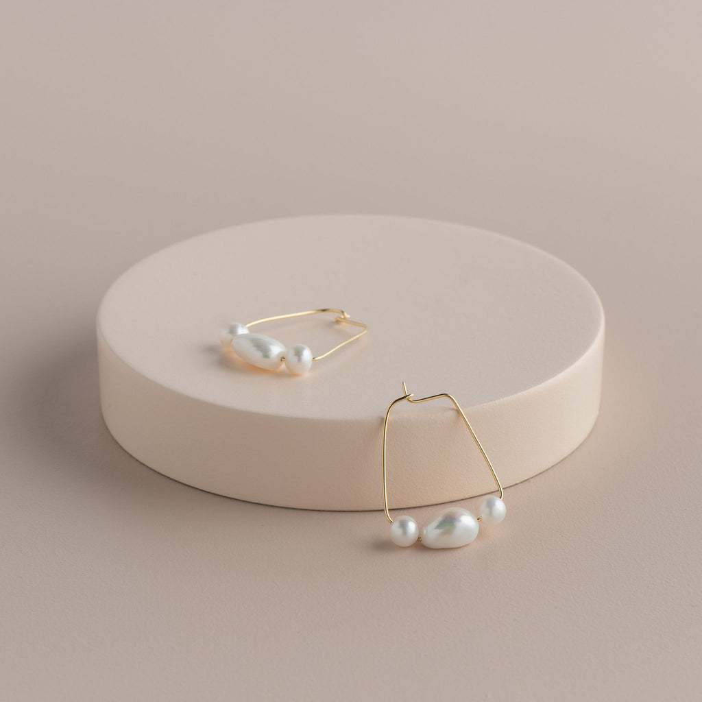 Shop 3 Pearl Square Hoop Earring at Rose St Trading Co