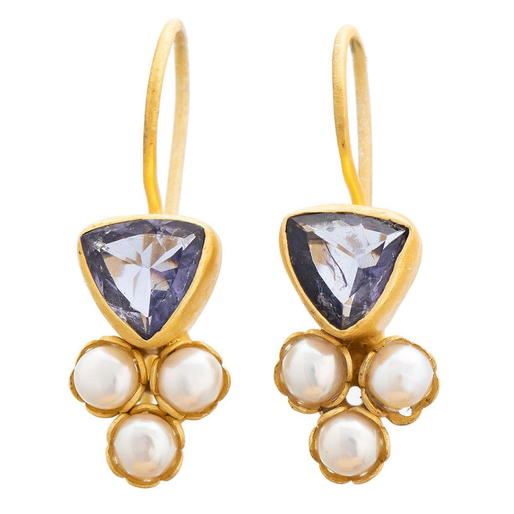 Shop Iolite Glass & Pearl Gold Plate Earrings at Rose St Trading Co