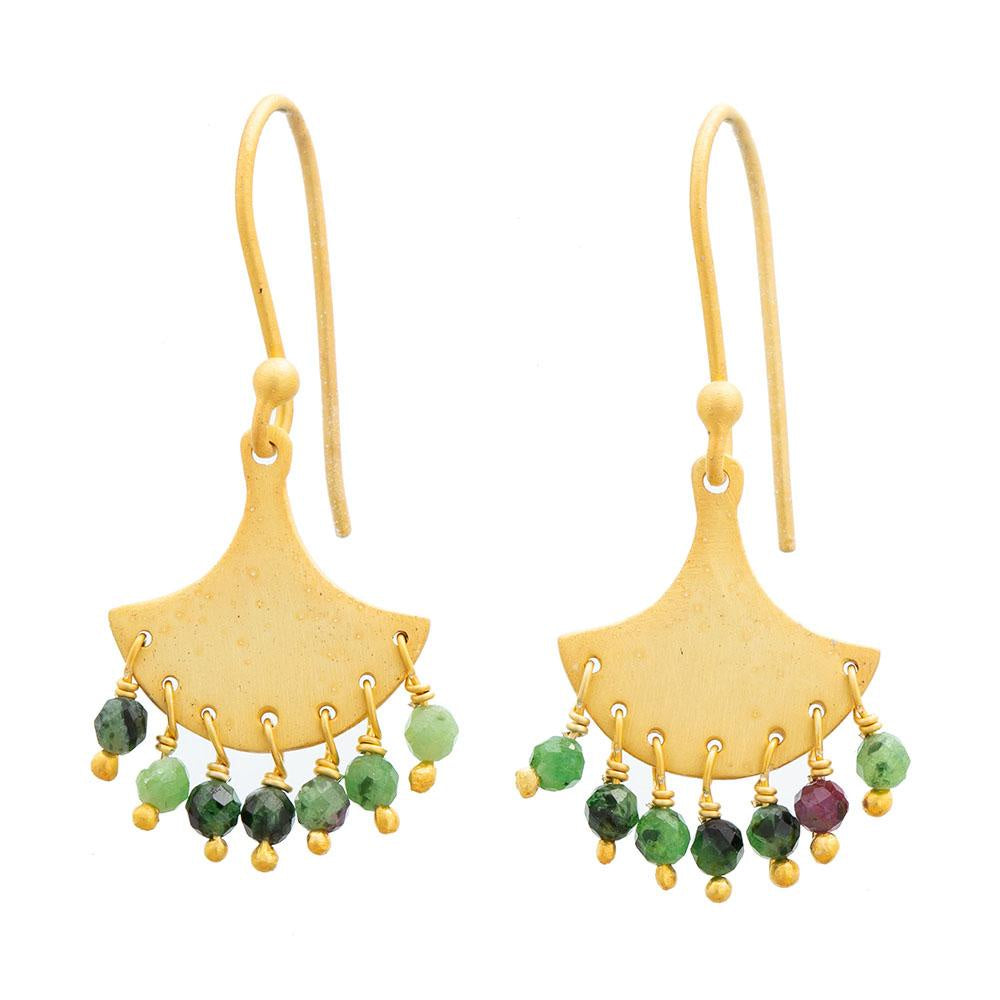 Shop Gold plate Ruby Zoisite Splash Earrings at Rose St Trading Co