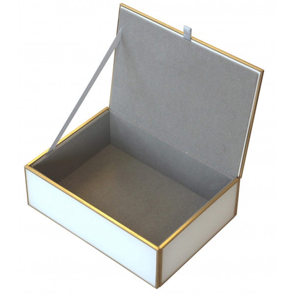 Shop Luxe White & Brass Trim Decor Box | Large at Rose St Trading Co