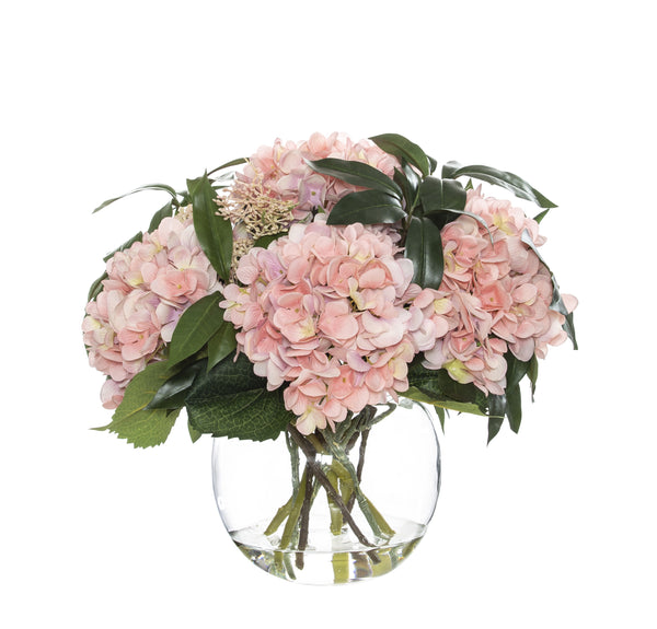 Shop Hydrangea Mix - Glass Fish Bowl 31cm at Rose St Trading Co