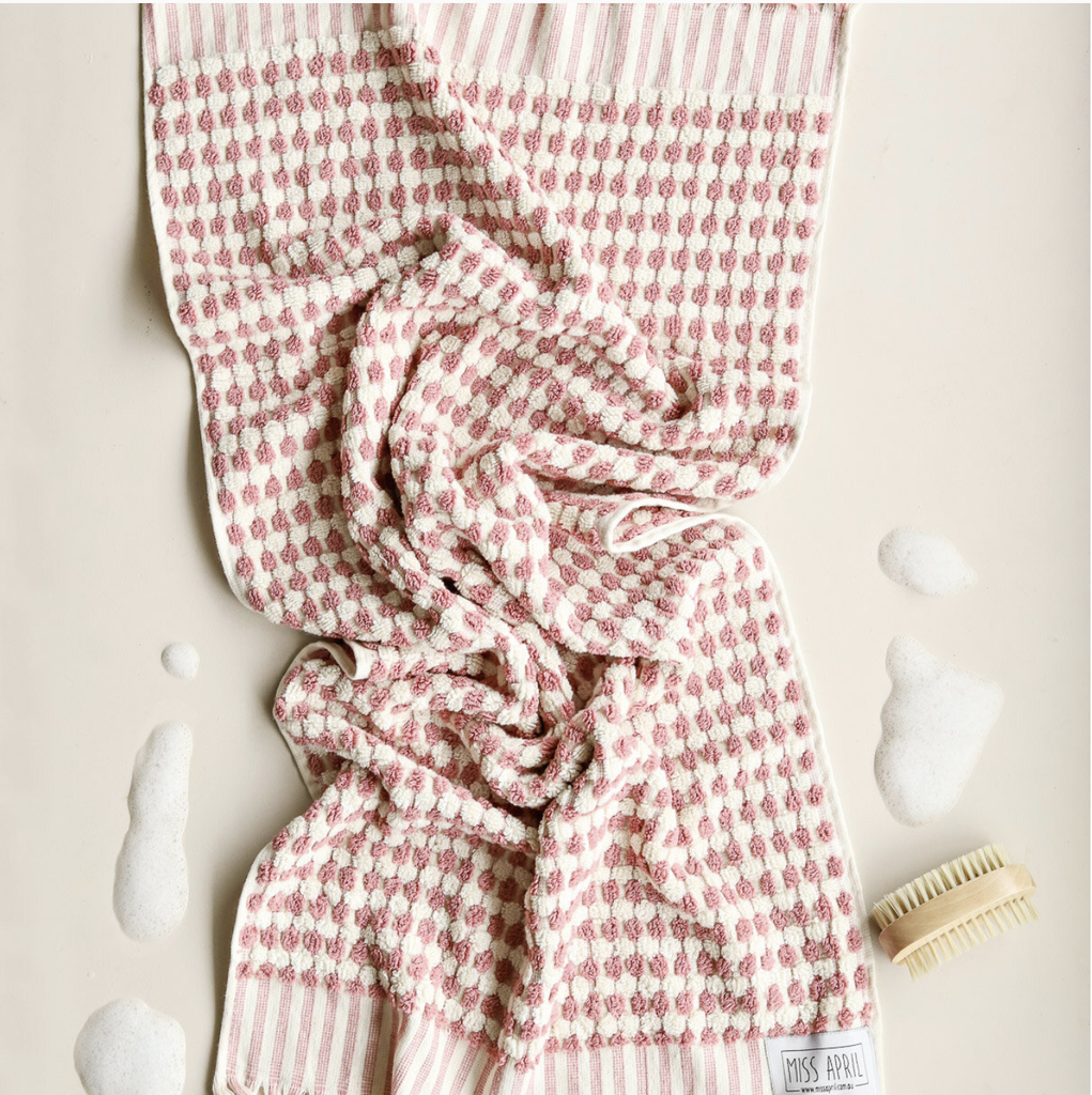 Shop Pom Pom Bath Towel - Pale Pink at Rose St Trading Co