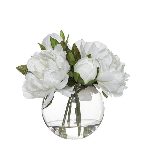 Shop Peony Bouquet in Sphere Vase - White at Rose St Trading Co