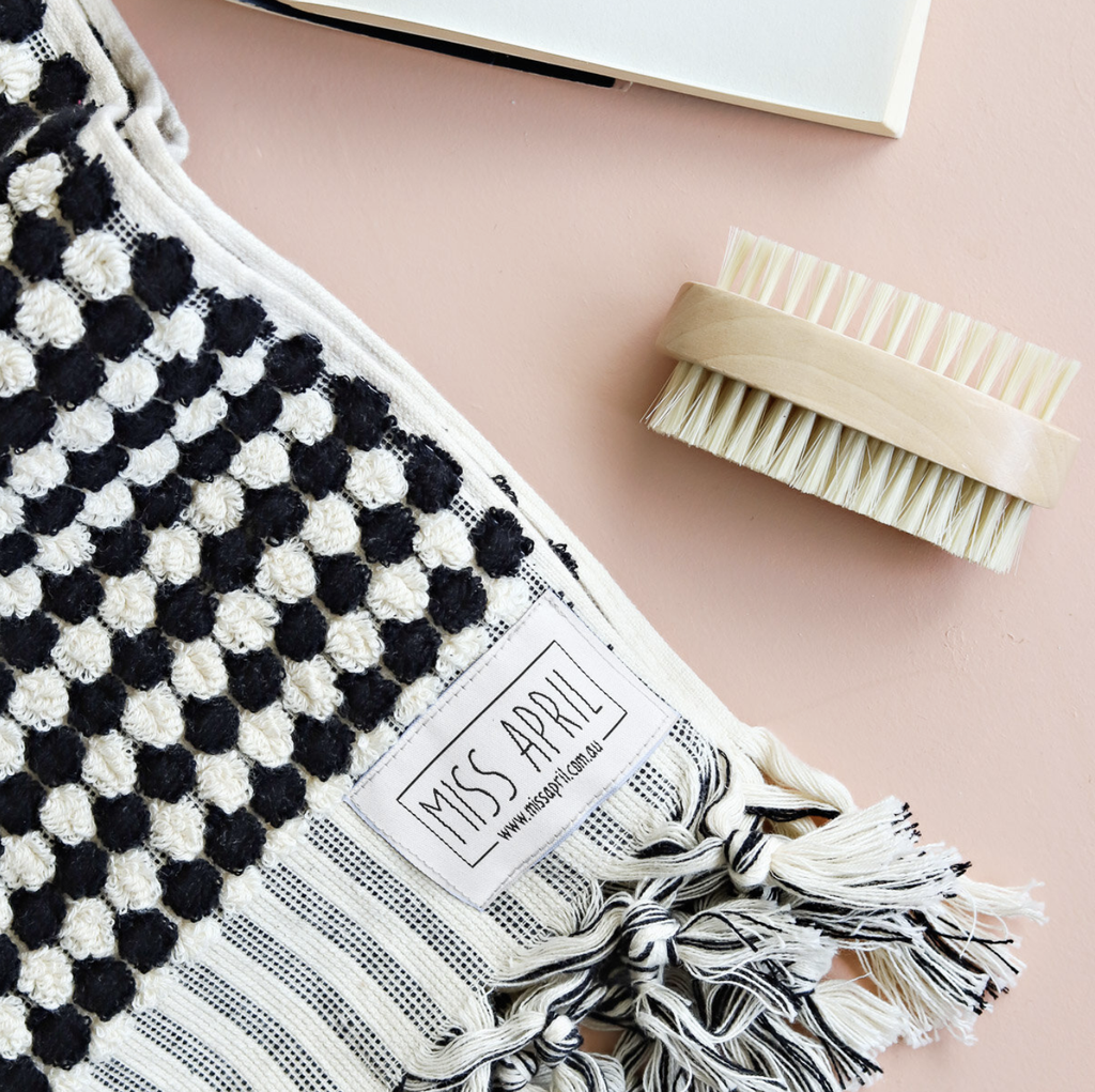Shop Pom Pom Bath Towel - Black & White at Rose St Trading Co