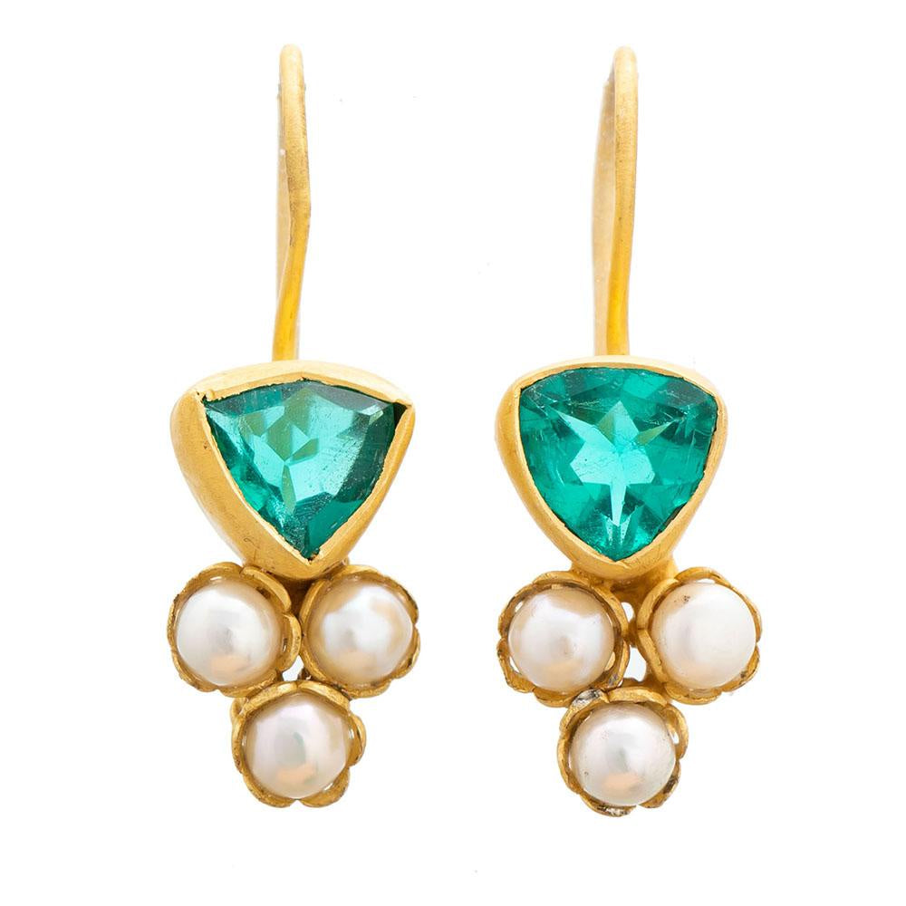 Shop Apatite Glass & Pearl Gold Plate Earrings at Rose St Trading Co