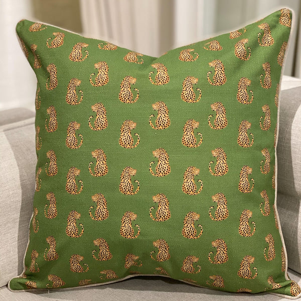 Shop Dancing Leopards Cushion | Green at Rose St Trading Co