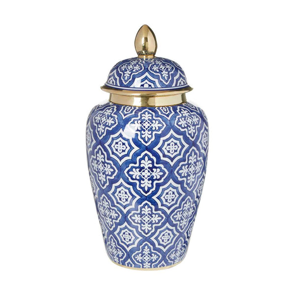 Shop Tangier Ginger Jar | 44cm Blue + White at Rose St Trading Co