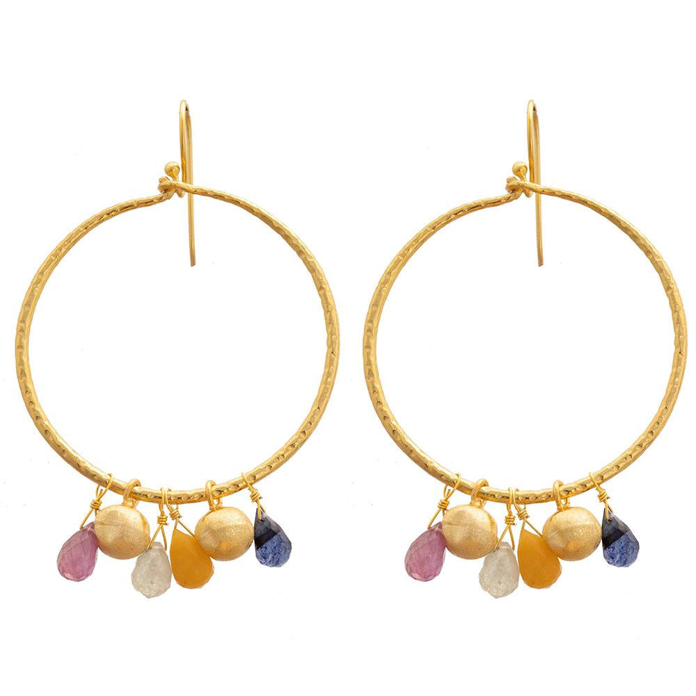 Shop Gold Plate Hoop Earrings | Multi Sapphires at Rose St Trading Co