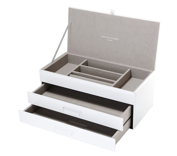 Shop Jewellery Box -White Glass Large at Rose St Trading Co