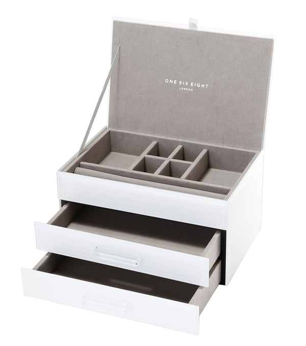 Shop Jewellery Box -White Glass Medium at Rose St Trading Co