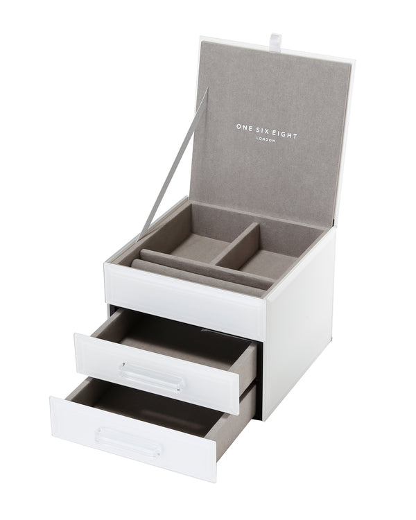Shop Jewellery Box -White Glass Small at Rose St Trading Co