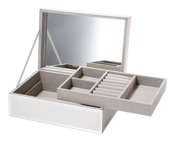 Shop Jewellery Box | Sara Off White Glass Large at Rose St Trading Co