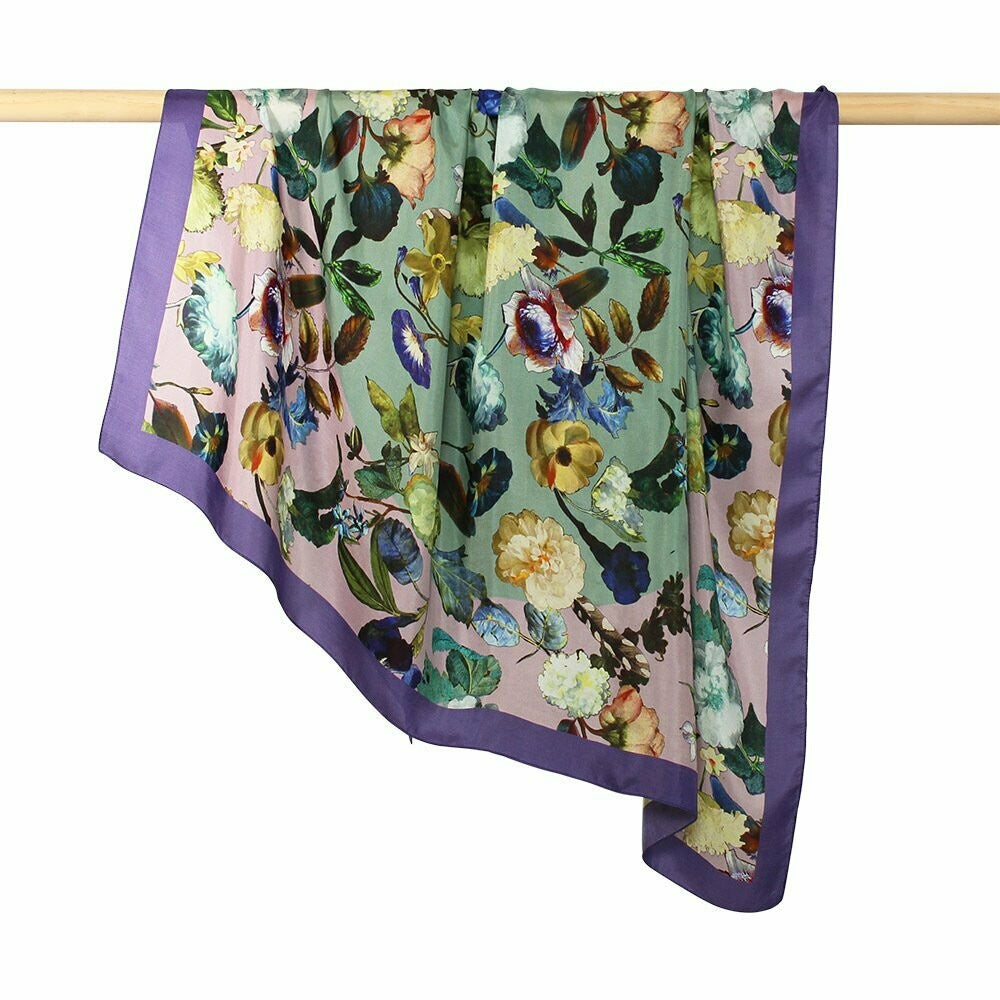 Shop Retro Flower Print Silk Square | Sage at Rose St Trading Co