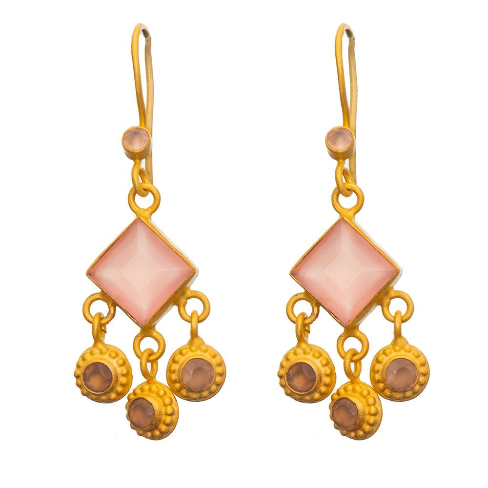 Shop Square Faceted Rose Quartz Gold Plate Earrings at Rose St Trading Co