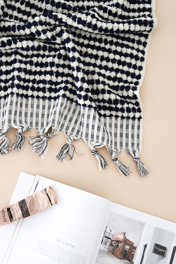 Shop Pom Pom Turkish Towel | Navy at Rose St Trading Co