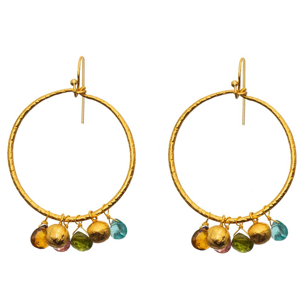 Shop Gold Plate Hoop Earrings | Multi Tourmaline/Apatite at Rose St Trading Co