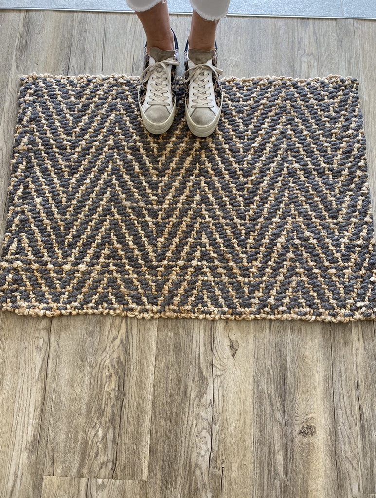 Shop Doormat | Natural Jute + Charcoal Wool at Rose St Trading Co