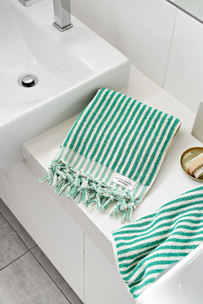 Shop Striped Hand Towel | Green at Rose St Trading Co