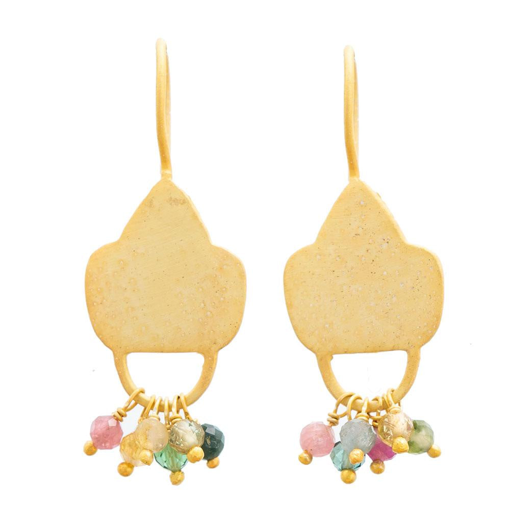 Shop Gold Plate Multi Tourmaline Shield Earrings at Rose St Trading Co