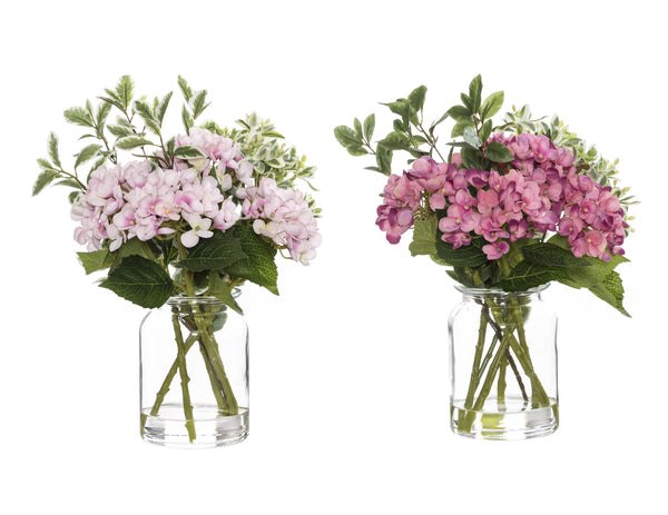 Shop Hydrangea Pick Mix in Glass Lip Vase - 37cm at Rose St Trading Co