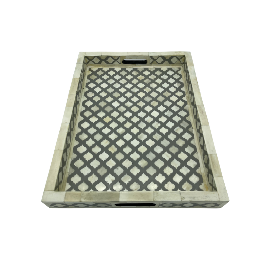 Shop Bone Inlay Tray | Grey Moroccan at Rose St Trading Co