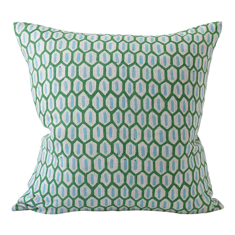 Shop Tapi Emerald Linen Cushion - 50cm x 50cm at Rose St Trading Co