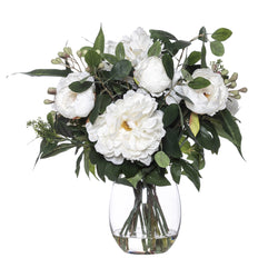 Shop Peony Eucy Mix in Vase 48cm - White at Rose St Trading Co
