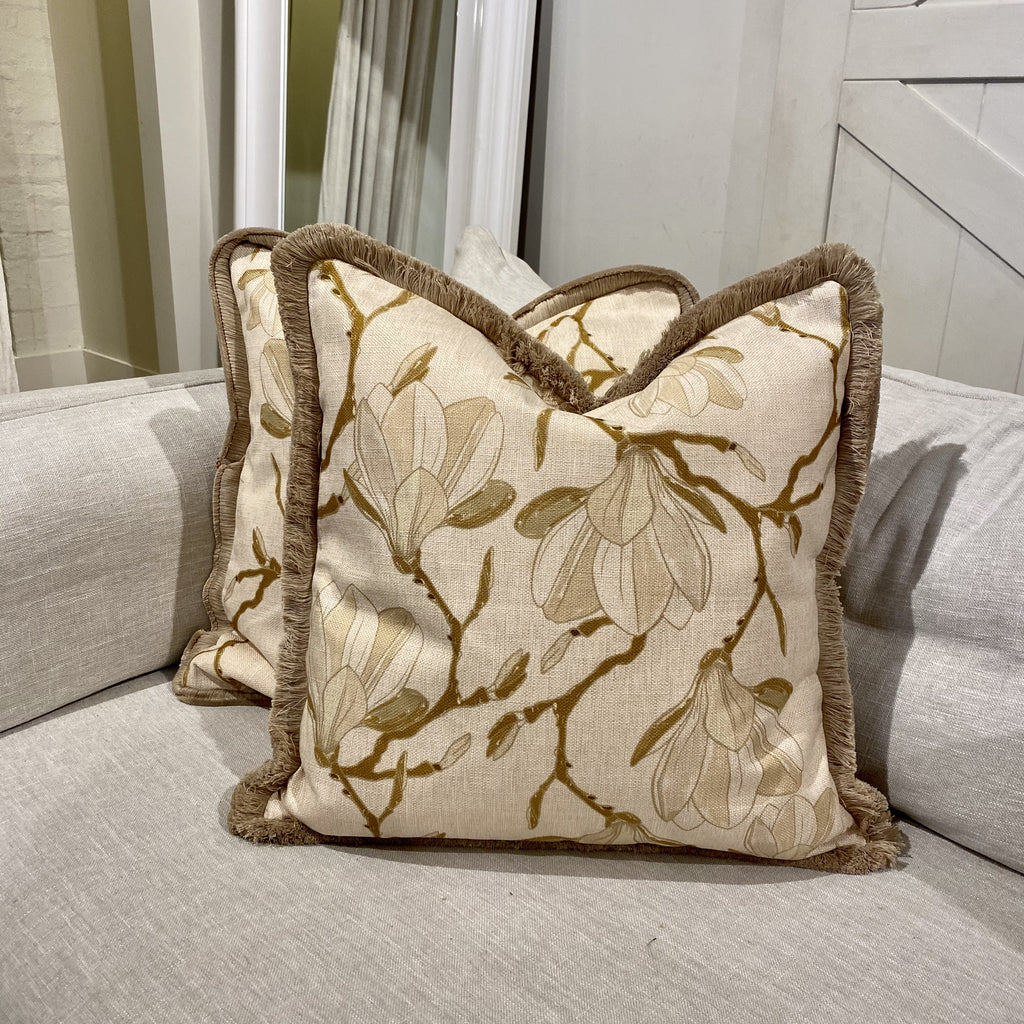 Shop White Magnolia Cushion with Fringe at Rose St Trading Co