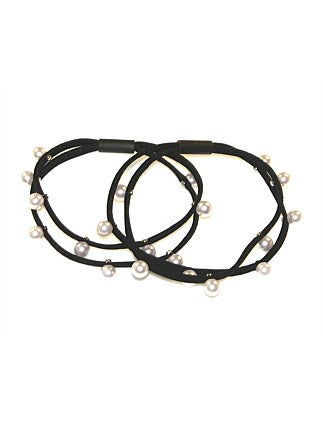 Shop Hair Elastics | Set of 2 Double Line Pearl at Rose St Trading Co