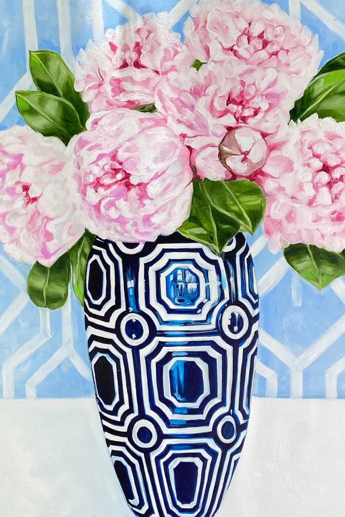 Shop Hamptons Peonies in Blue Geo Vase at Rose St Trading Co