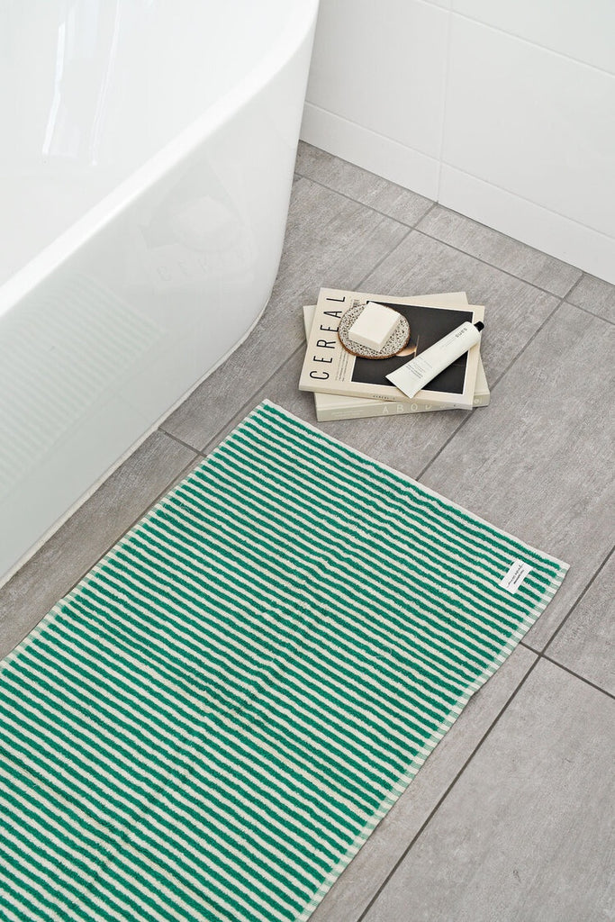Shop Stripe Bath Mat | Green at Rose St Trading Co
