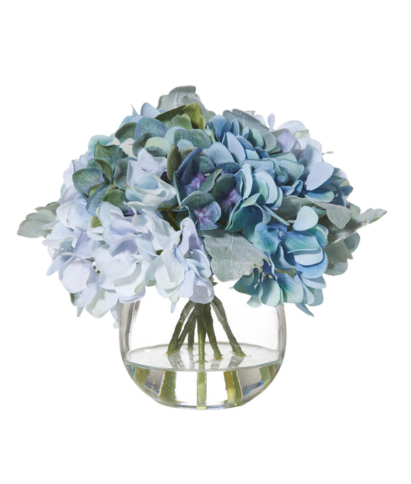 Shop Hydrangea Bouquet in Glass Fish Bowl - Blue at Rose St Trading Co