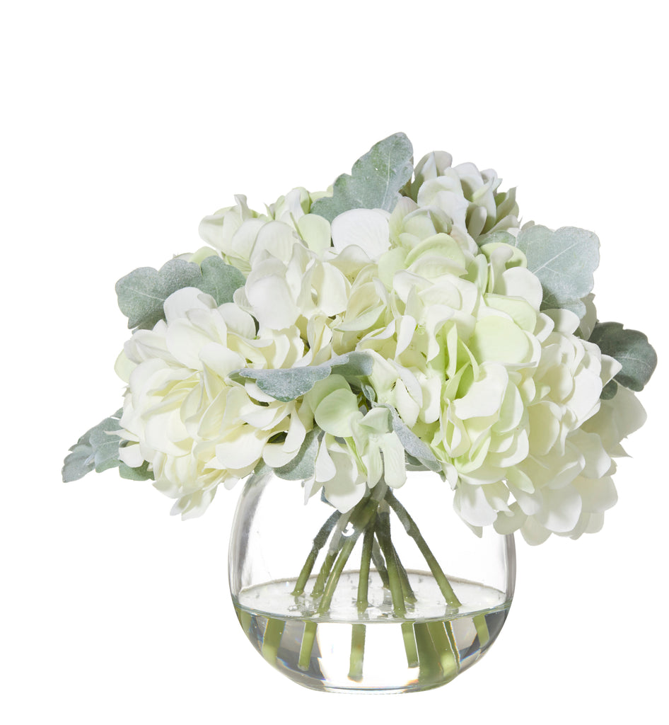 Shop Hydrangea Bouquet in Glass Fish Bowl - Multi at Rose St Trading Co