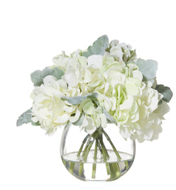 Shop Hydrangea Bouquet in Glass Fish Bowl - White at Rose St Trading Co