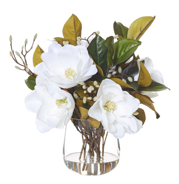Shop Grand Magnolia Mix in Glass Vase- White at Rose St Trading Co