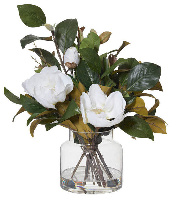 Shop Magnolia Mix in Glass Vase- White at Rose St Trading Co