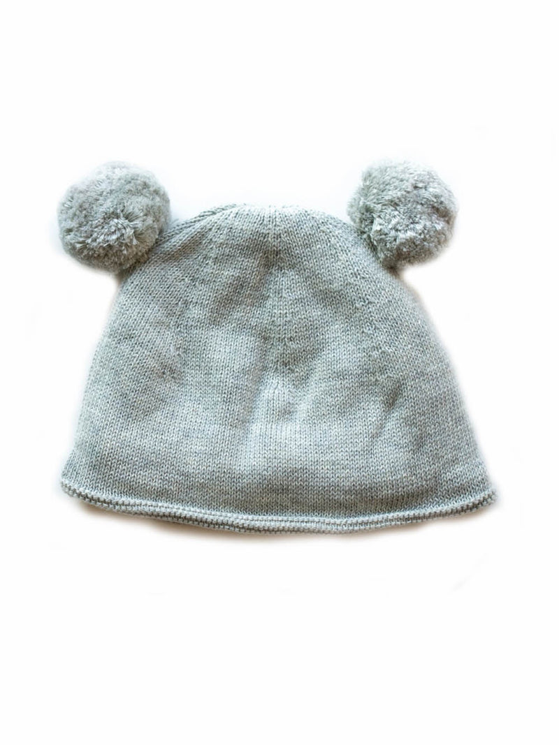 Shop Double Pom Pom Hat - Grey at Rose St Trading Co