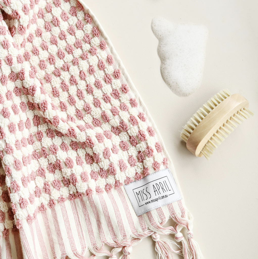 Shop Pom Pom Hand Towel - Pale Pink at Rose St Trading Co