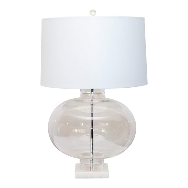 Shop Marble Base Lamp with White Shade at Rose St Trading Co