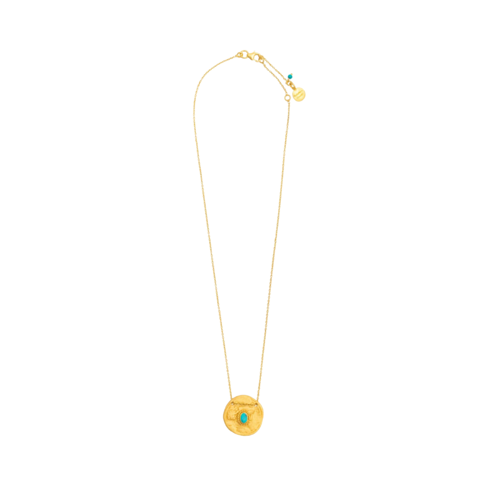 Shop Gold Plate Turquoise Coin Necklace at Rose St Trading Co