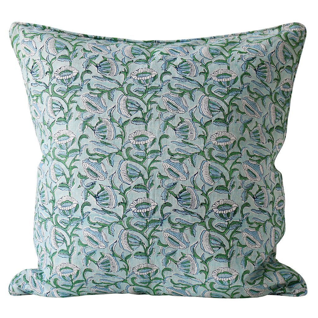 Shop Marbella Emerald Linen Cushion at Rose St Trading Co