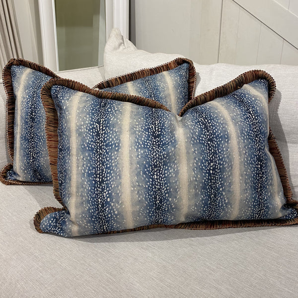 Shop Blue Leopard Fringe Cushion at Rose St Trading Co