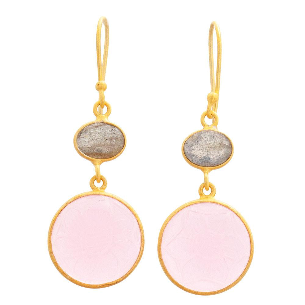 Shop Carved Rose Quartz Glass & Labradorite Earrings at Rose St Trading Co