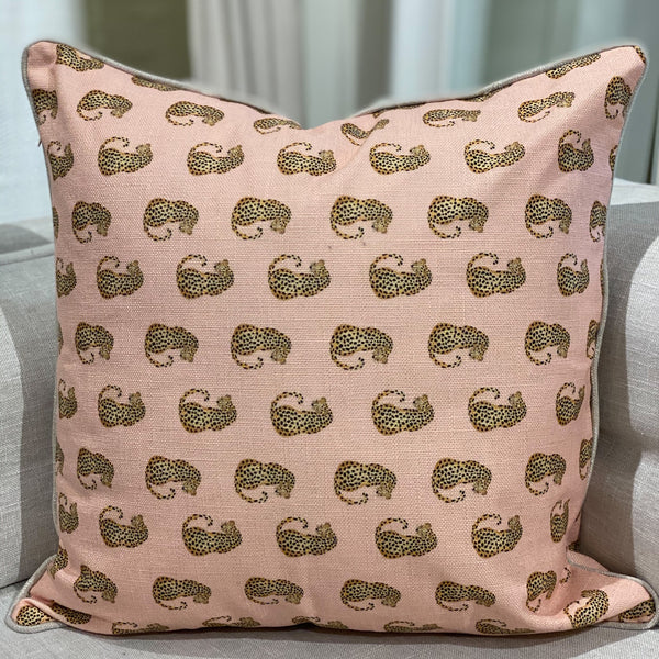 Shop Dancing Leopards Cushion | Pink at Rose St Trading Co