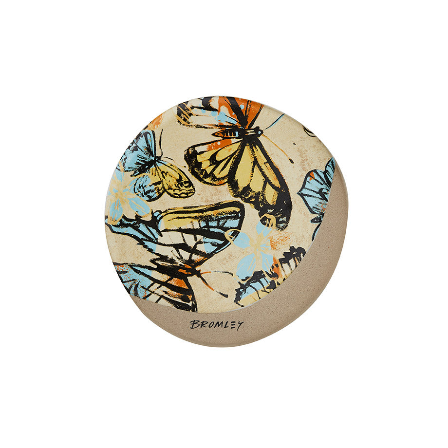 Shop Coaster Round - Yellow Butterflies at Rose St Trading Co