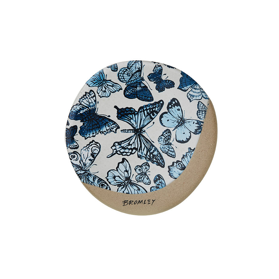 Shop Coaster Round - Blue Butterflies at Rose St Trading Co