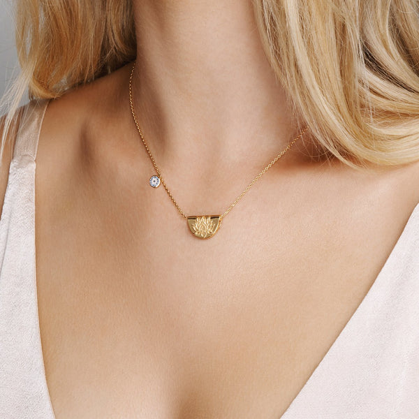 Silver Lucky Lotus  Necklace
