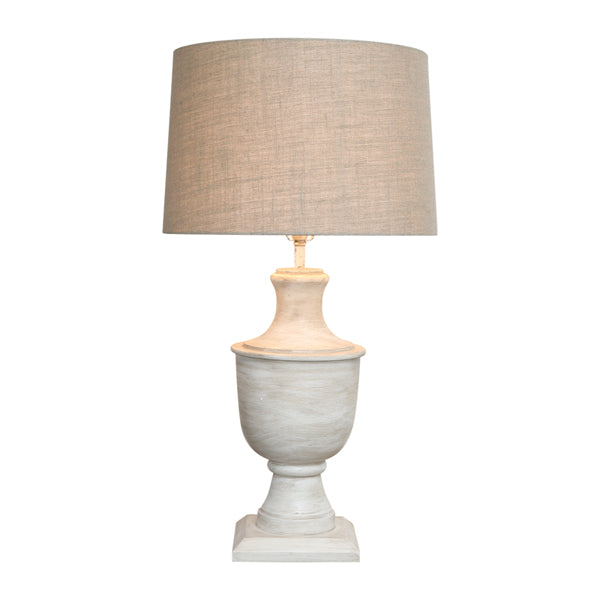Shop White Wash Wood Urn Lampbase with Natural Linen Shade at Rose St Trading Co