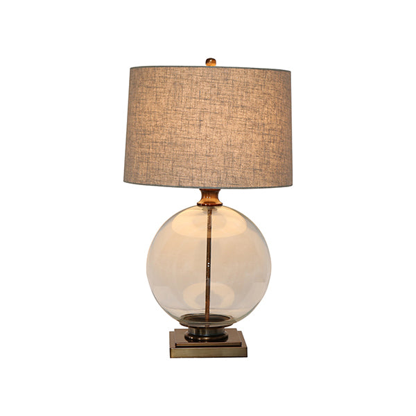 Shop Antique Brass and Glass Lamp with Natural Linen Shade at Rose St Trading Co