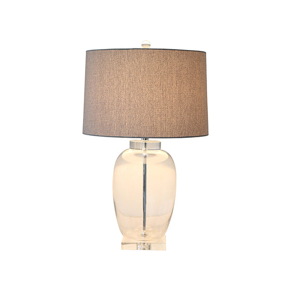 Shop Crystal Base Lamp with Grey Linen Shade at Rose St Trading Co